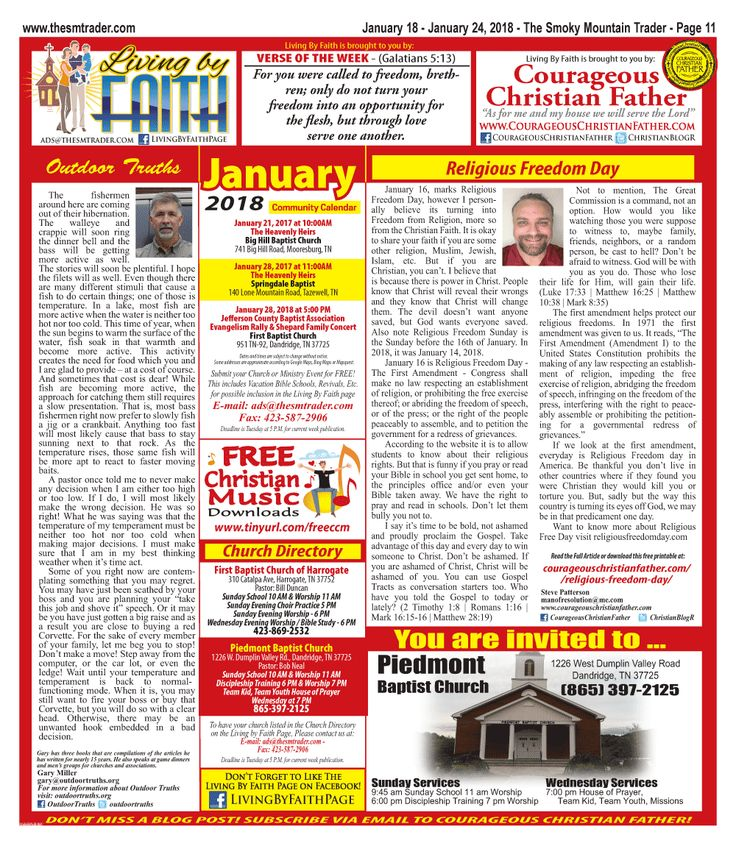 The January 18, 2018 edition of The Living by Faith Page found inside the Smoky Mountain Trader on page 11. Features an article by the Sponsor Steve Patterson of Courageous Christian Father. Plus an article by Gary Miller with Outdoor Truths. It also features local church and ministry events.
