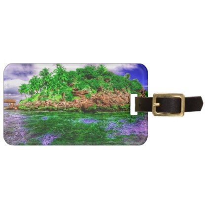 Tropical Island Oasis Bag Tag - ocean side nature waves freedom design