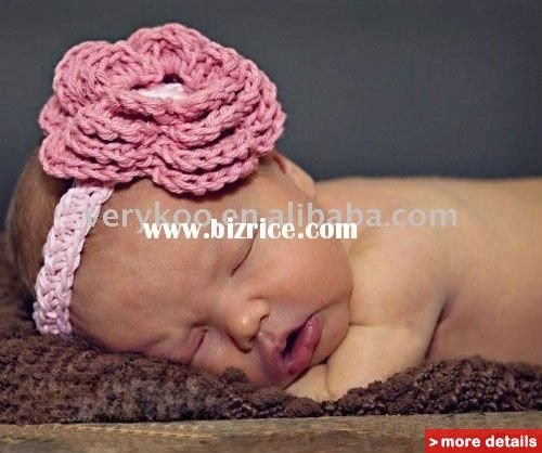 Newborn Baby knit crochet big flower headbands / China Hair Jewelry for sale ...