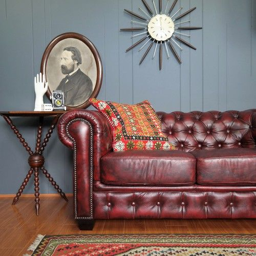 Oxblood Leather Chesterfield Sofa :: Eclectic Industrial vibe