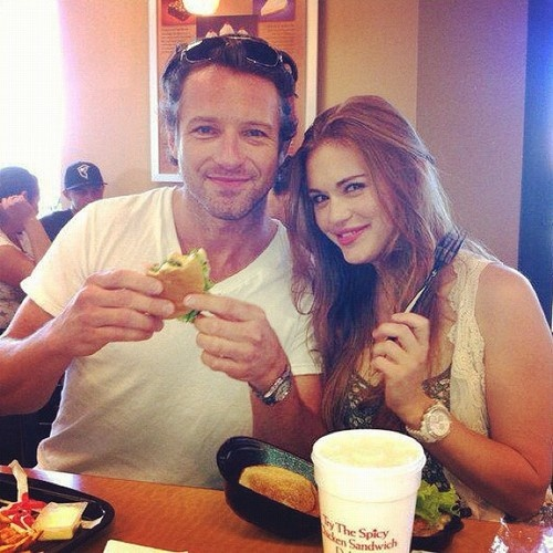 Ian Bohen (Peter Hale) and Holland Roden (Lydia Martin) on the set of Teen Wolf.