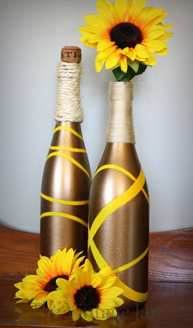 The Vintage Jar: Painted Wine Bottles {I'm not a fan of yellow but I love the effect}