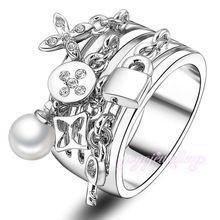 2015 nuovo modo di arrivo portachiavi pera e bloccare adorna antichi anelli d'argento del polsino per le donne femminili fidanzamento e matrimonio r422(China (Mainland))