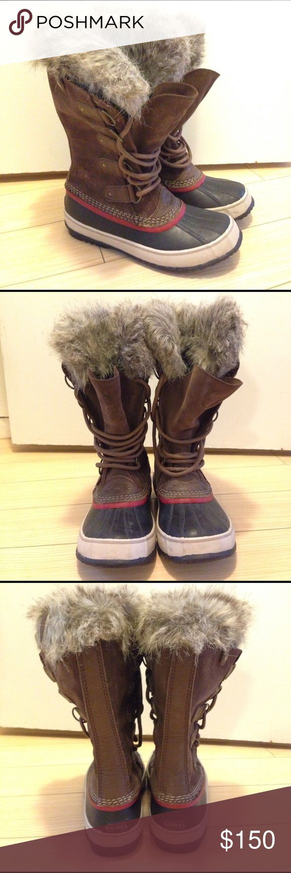 Women's Sorel Joan of Arctic Waterproof Snow Boots Sorel waterproof snow boots. Size 10. Women's Joan of Arctic style in Umber/Red Dhalia. Just bought in January for a trip to Utah. Only worn 3 times. I live in LA so have no real use for them here, lol. UPPER: Waterproof suede leather upper. Faux fur cuff. Seam-sealed waterproof construction. INSULATION: Removable 6 mm recycled felt inner boot. MIDSOLE: 2.5 mm bonded felt frost plug. OUTSOLE: Handcrafted waterproof vulcanized rubber shell…
