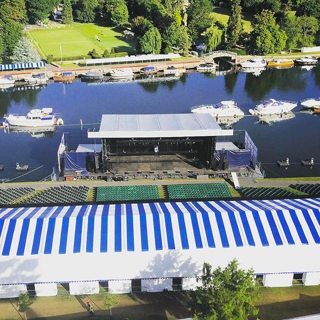 """The floating stage at Henley Festival constructed on our Multi Float modular pontoons.  #henleyfestival #lovehenleyfestival #eventprofs @es_global #dji #dronestagram #djimavic #riverthames #henley #floatingstage #events #music #festival"" by @northernpontoon."