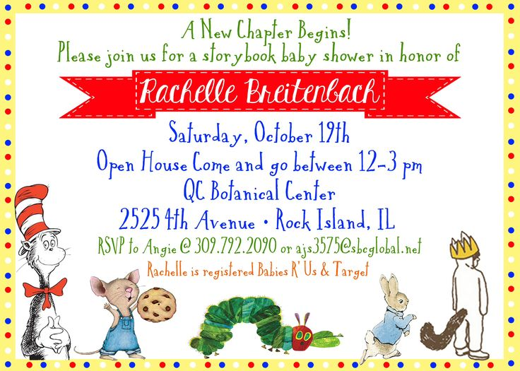 Great Perfect Invitations To A Story Book Baby Shower And Candy Buffet.  Childrenu0027s Book Theme Candy