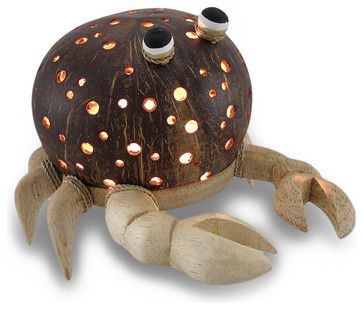 Recycled Coconut Shell and Wood Crab Night Light Accent Lamp - eclectic - Kids Lighting - Zeckos