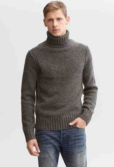 Something thicker — with ribbing at the neck and collar — goes great with a pair of distressed jeans. Heritage textured turtleneck sweater ($130) by Banana Republic, bananarepublic.com   - Esquire.com