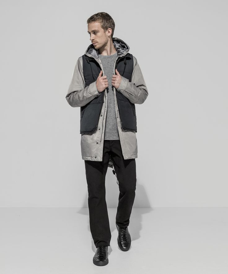 Waterproof Taffeta Twill Puffer Vest (Carbon) Waterproof Taffeta Twill Anorak (Platinum) Cashmere Merino Fully Fashioned Ribbed Crewneck (Grey Marle) Heavyweight Oxford Canvas Garment Dyed Five Pocket Workman Pant (Black)