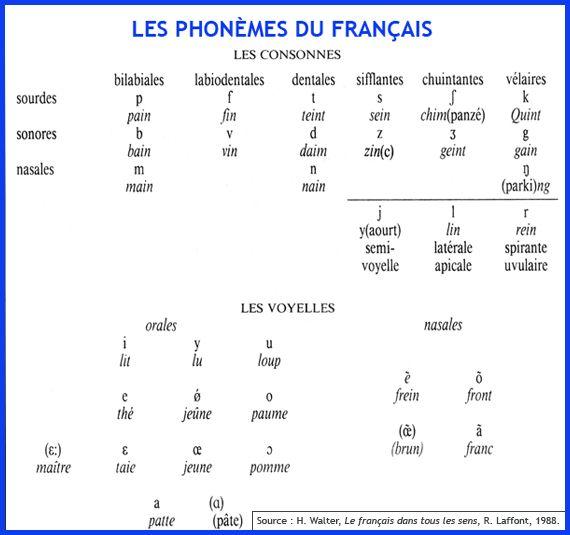 Les phonèmes du français