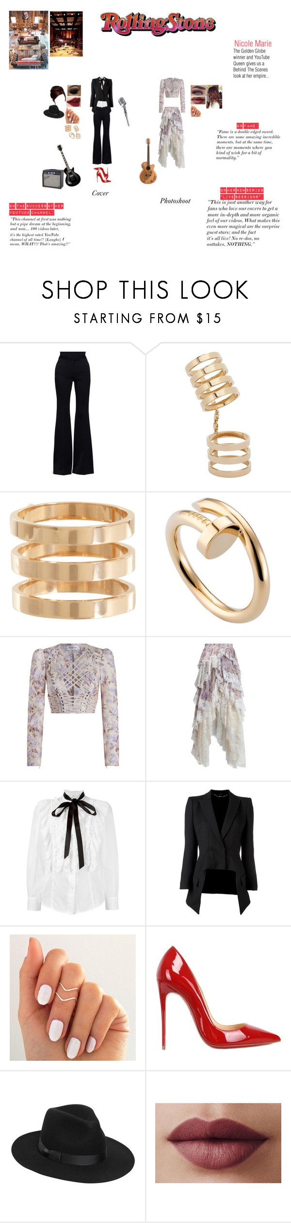 """""""Rolling Stone Magazine Photoshoot"""" by nikki-usmc92 ❤ liked on Polyvore featuring Alexander McQueen, Grassroots, Repossi, Cartier, Zimmermann, Marc Jacobs, Christian Louboutin, Lack of Color and LORAC"""