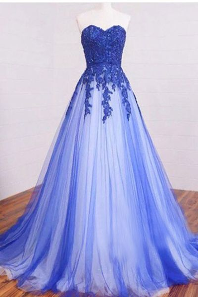 2017 New Arrival Sweetheart Long Lace Appliques Prom Dress,Strapless Royal Blue Tulle Prom Dresses,Formal Dress,Cheap Simple A-line Prom Gown