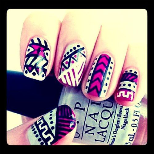 Aztec inspired nails...we love this look!  #aztec #nailart #hotpink