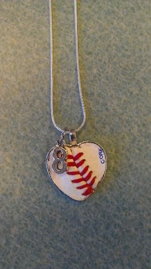 Real Baseball OR Softball made into a heart necklace CUSTOMIZED with your players uniform number by bridgette.jons
