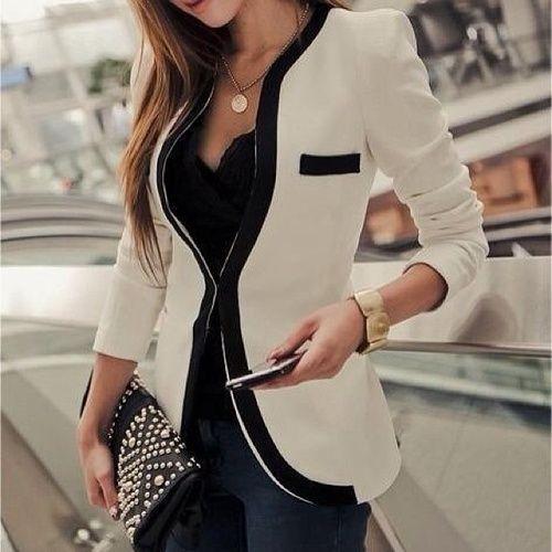 White blazer, black piping