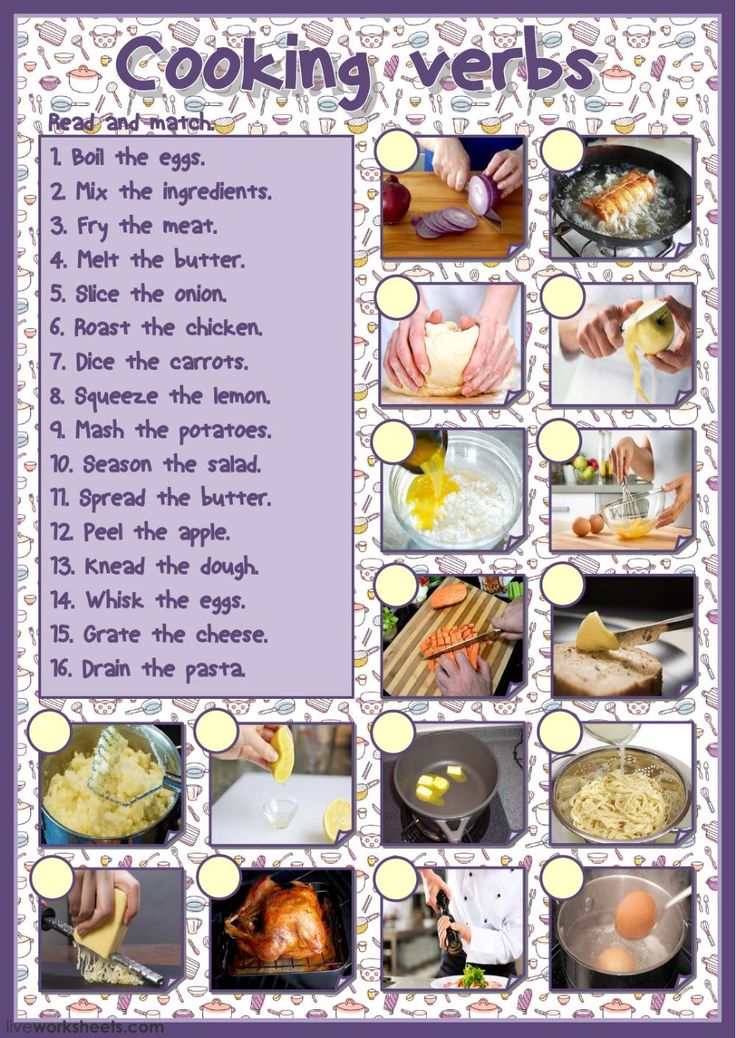 Cooking vocabulary interactive and downloadable worksheet