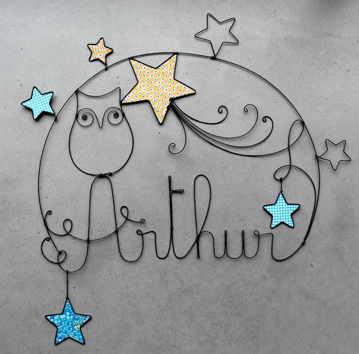 """Sculture métallique prénom """"Arthur"""" et hibou - déco chambre d'enfant, bébé, petit garçon"""
