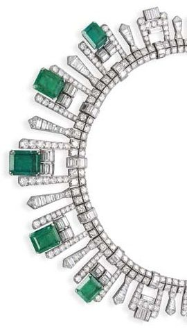 Emerald & diamond necklace/tiara
