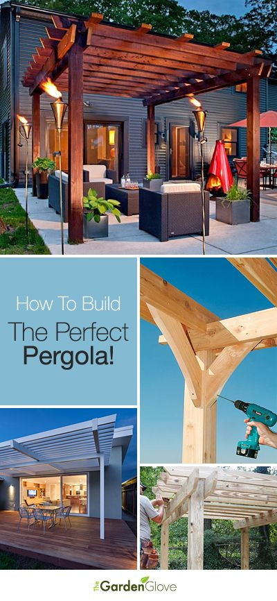 Here's a great entry from contestant @Gina Tucci! A wooden pergola can really change the look of your yard. Add tiki torches and some great outdoor furniture to create a great relaxing space! Have YOU entered your board for the My Dream Backyard sweepstakes? | Repin: How To Build The Perfect Pergola! • Great Ideas and Tutorials! #PinMyDreamBackyard