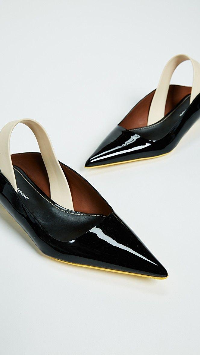 5eaa72b3b0e Proenza Schouler Rubber Strap Patent Kitten Heel Flats