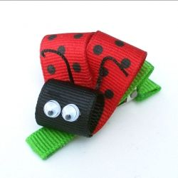 Lady Bug Ribbon Barrette fro Pretty Pretty Bows