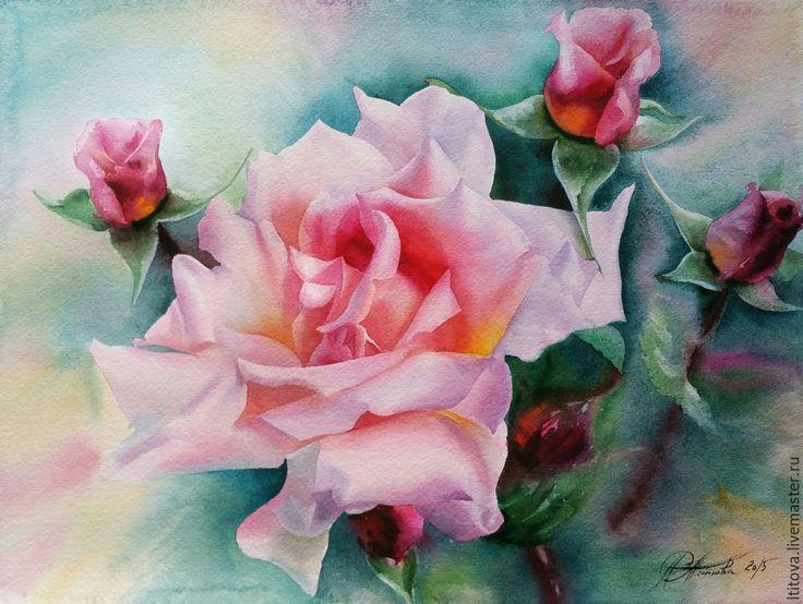 """Купить """"Прекрасная роза"""" акварель /оформлена/ - розовый, роза, нежность, зеленый, лето, счастье, акварель"""