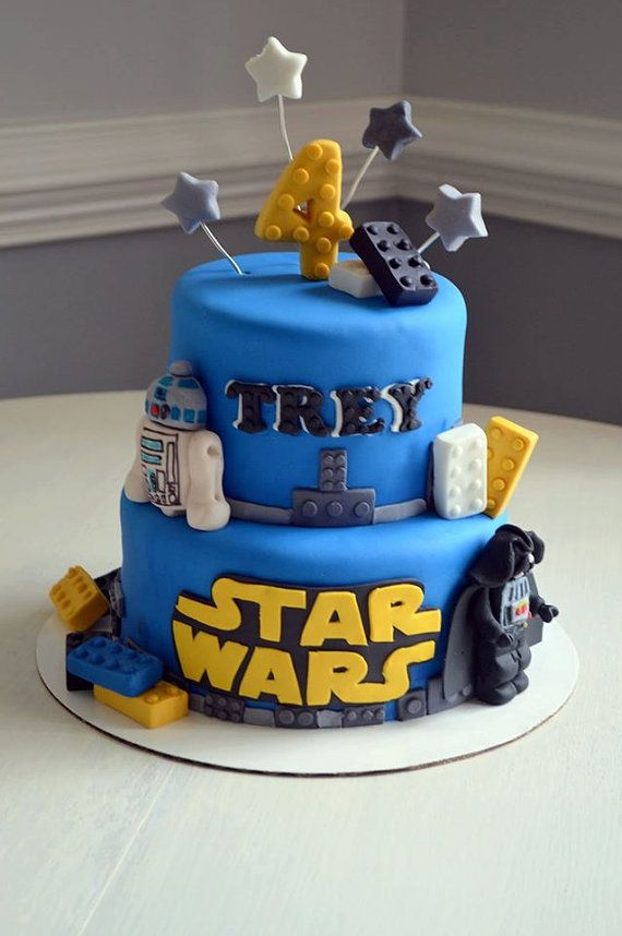 Dont be Forced into having a normal cake. Just order this easy to use 100% edible cake kit and turn any cake into an edible piece of art. (Kit works best with 6-8 or 8-10 cake sizes)  This listing includes: 2 - Star Wars Lego Characters (Picture Shows R2D2 and Darth Vader) You can let us know in the notes if you want different characters. 4 - Star cutouts on wire 1 - batman logo 1 - 3D Number for age 1 - Name Cutout of Fondant. 16 - Lego pieces and blocks (100% Edible)  *Please include name…