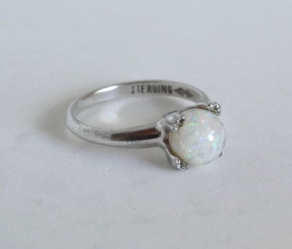 Vintage White Opal Ring Sterling Silver October Gemstone Size 6.5 Clark and Coombs Markings Antique