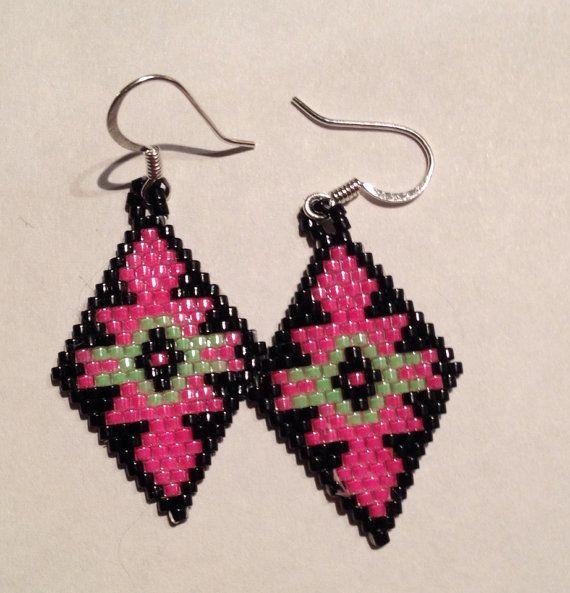 Geometric pattern earrings by Wiswasca on Etsy