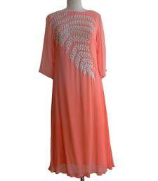 Buy Designer Peach Colour Georgette Embroidered Unstiched Kurti  kurtas-and-kurti online