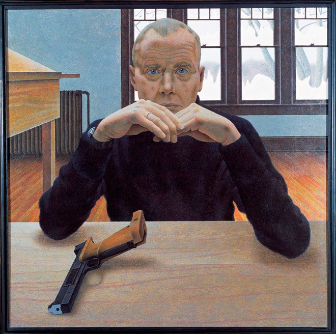 Alex Colville, Target Pistol and Man, 1980. At the AGO.