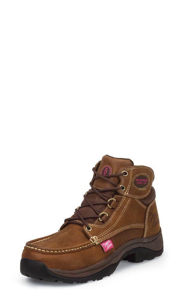 Tony Lama Women's Saddle Tan Waterproof Steel Toe Boots