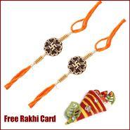2 Swastik Rakhi to Canada  with Roli Tikka and Card