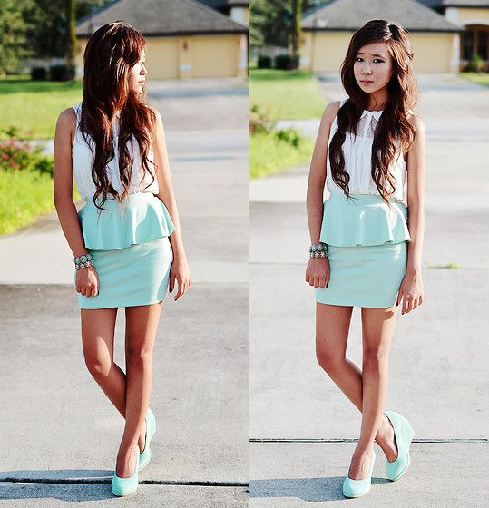 Mint on mint on mint (by Myu C) http://lookbook.nu/look/4040358-Mint-on-mint-on-mintForever 21, Fashion Skirts, Fashionista, Closets, Street Style, Mint Color, Fashion Makeup Hair, Mint Peplum, Peplum Skirts