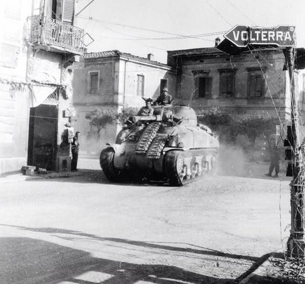 "American medium tank M4 ""Sherman"" of the 1st armored division of the US on the street Ponsacco (outlet Ponsacco) during the breakthrough of the Gothic line - a defensive line of German troops in Northern Italy. 1944"