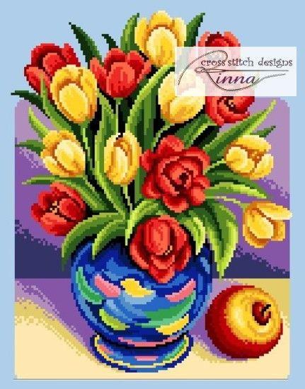Summer Tulips Still Life - Cross Stitch Chart