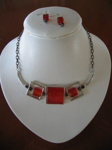 Set of red square glass necklace and earings  | LesBijouxLibellule - Jewelry on ArtFire