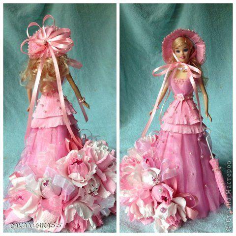 Поделка изделие Свит-дизайн День рождения Кукла в розовом на первый юбилей внучки Бумага гофрированная Ленты Тесьма шнур фото 1