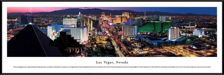 Las Vegas Skyline Panoramic Picture Framed, Nevada