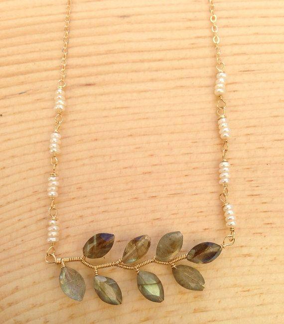Horizontal Vine Necklace  labradorite freshwater pearl by rhodaj, $85.00