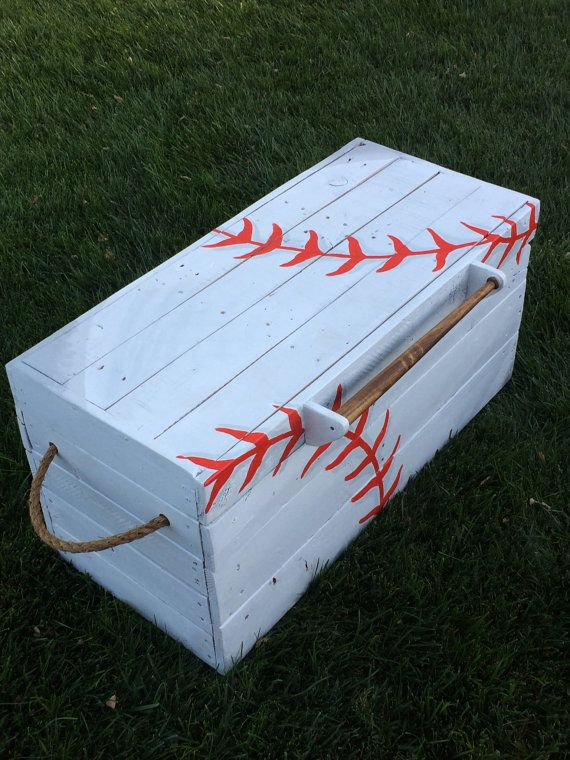 Custom Baseball Toy Box, is a perfect addition to any nursery, bedroom or playroom! The hand built, hand painted. Pallet reclaimed wood.