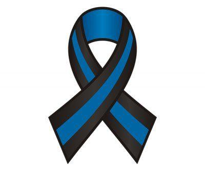 Thin Blue Line Ribbon Police Officer Sticker Decal v2