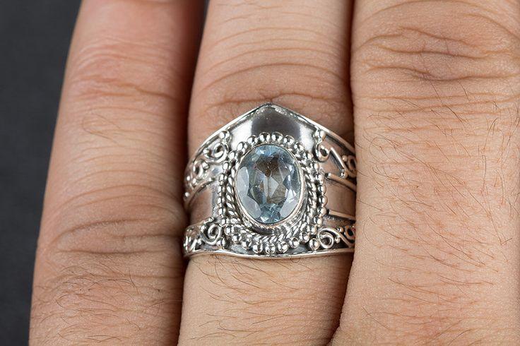 Topazio - Blu Handmade Topaz anello d'argento 925 - un prodotto unico di ArtisanJewellery su DaWanda