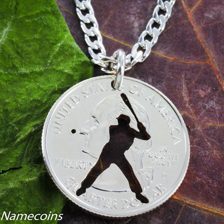 Major League Baseball Batter Necklace, hand cut coin Jewelry by Namecoins