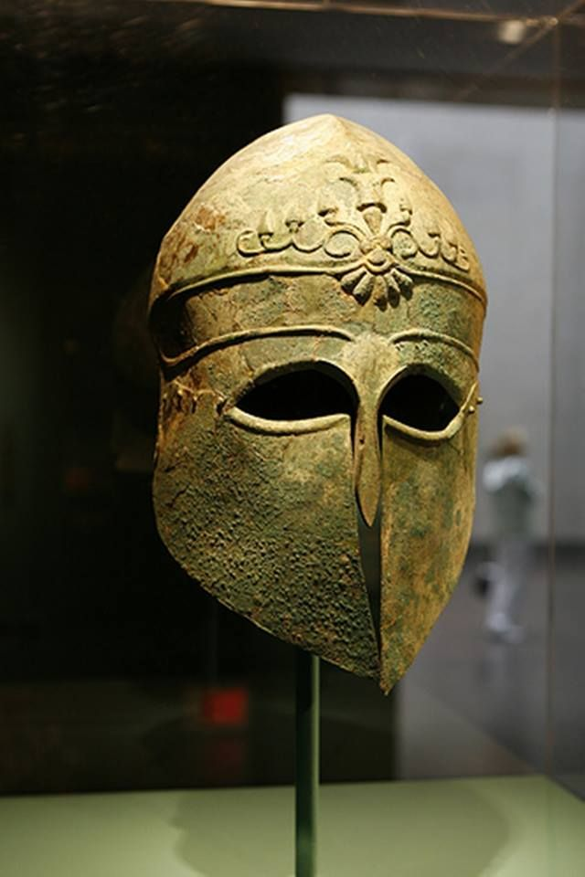 Corinthian Helmet, Greek, c. 495 BCE. Hammered bronze. Museum of Fine Arts, Houston.
