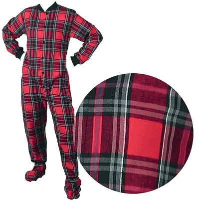 Big Feet PJs Red Plaid Flannel Footed Pajamas for Women and Men - Click to enlarge