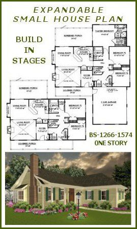 Lovely Build In Stages House Plans   BS 1266 1574 ADA Small Expandable Country