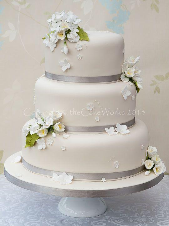 Hydrangea And Freesia 3 Tier Cake