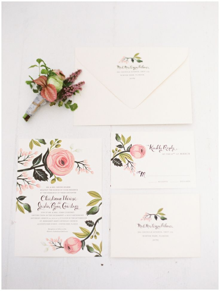 Rifle Paper Co. Wedding invitation suite, floral, pink.