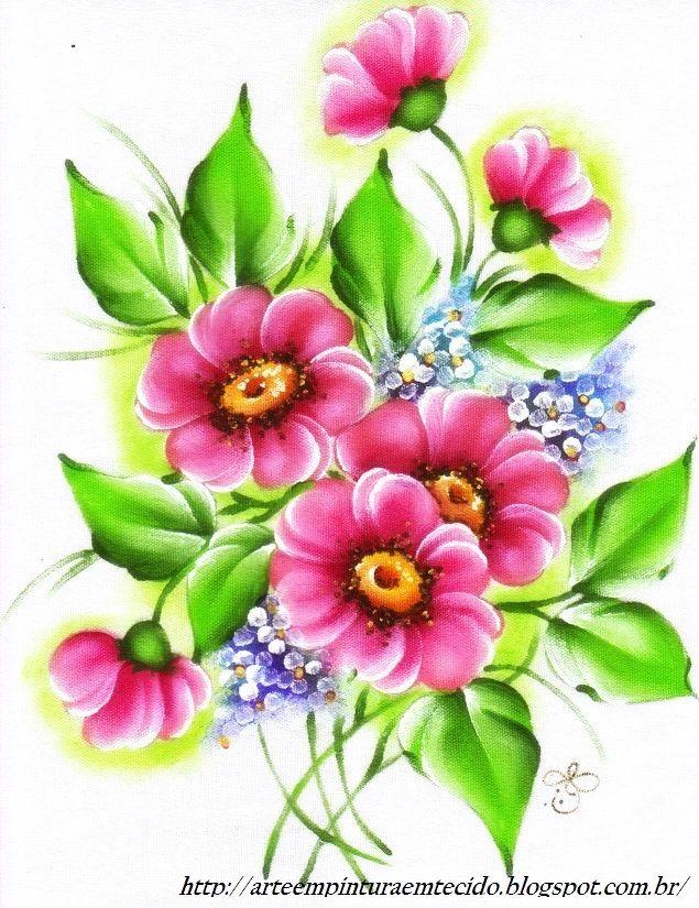 Pintura em Tecido Passo a Passo Com Fotos: Pintura em Tecido Flores do Campo